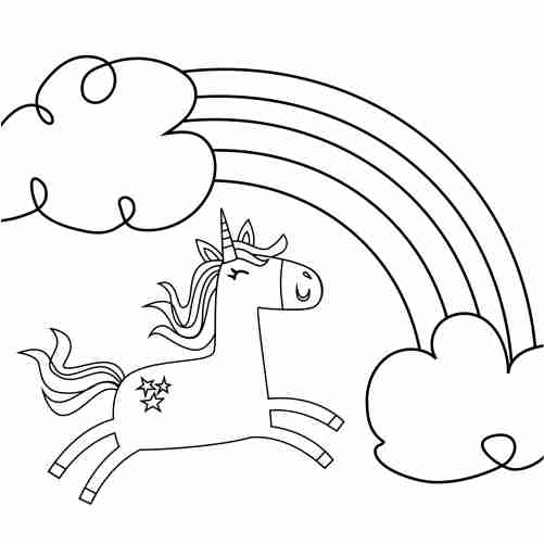 arcoiris unicornio saltarin para colorear