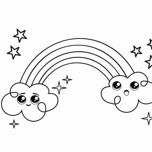 arcoiris kawaii y estrellas para colorear