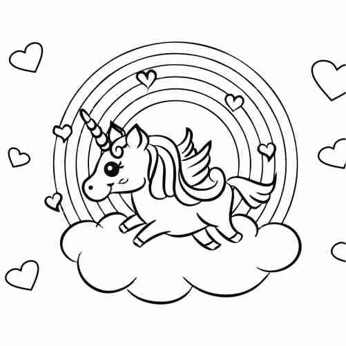unicornio y arcoiris para colorear